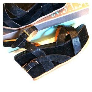 N.Y.L.A. Alvar Black Leather Strappy Buckle Wedge